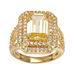 Sophie Miller 14k Gold Over Silver Yellow & White Cubic Zirconia Tiered Octogonal Halo Ring
