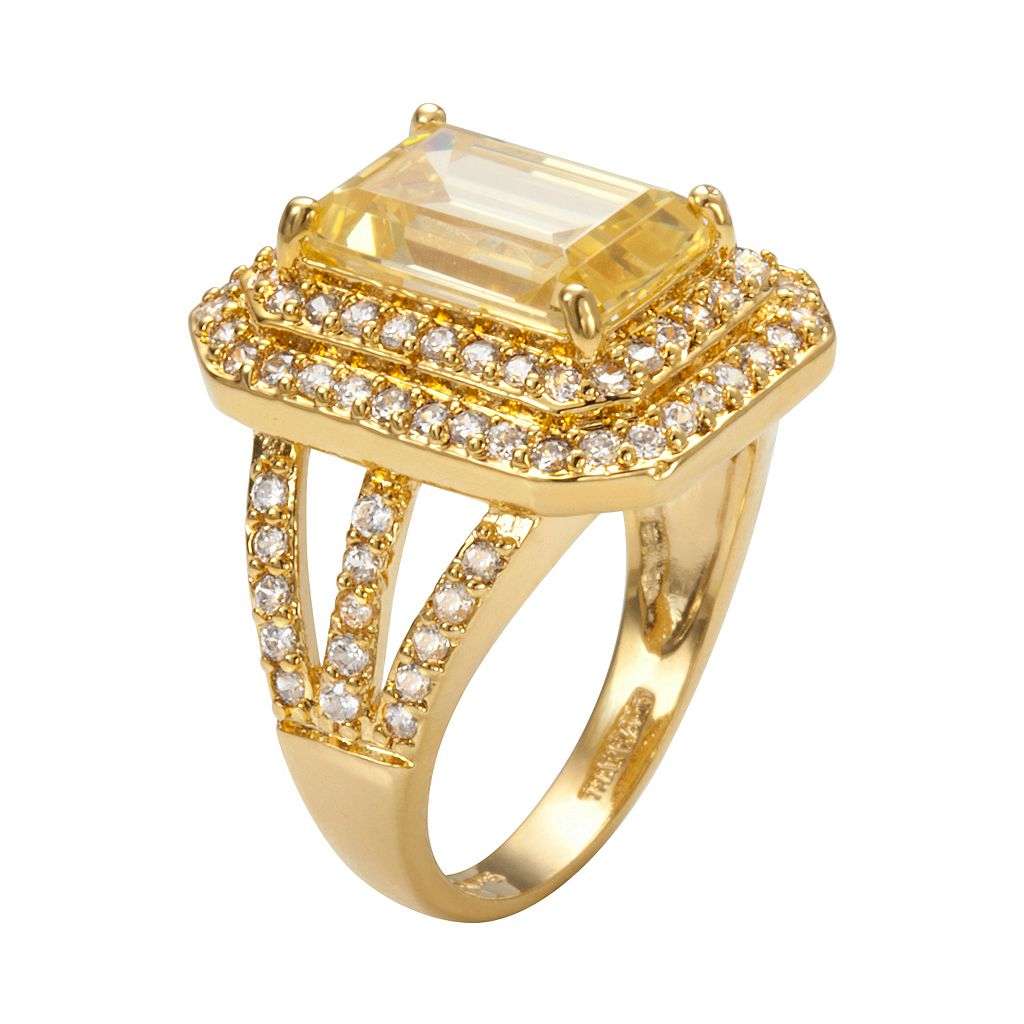 Sophie Miller 14k Gold Over Silver Yellow and White Cubic Zirconia Tiered Octagonal Halo Ring