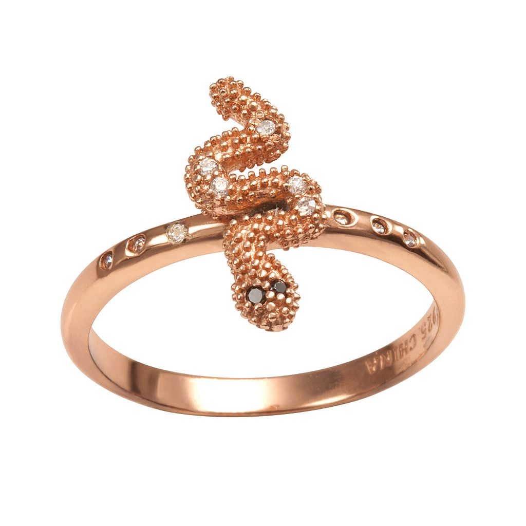 Sophie Miller 14k Rose Gold Over Silver Black & White Cubic Zirconia Snake Ring