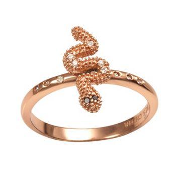 Sophie Miller 14k Rose Gold Over Silver Black & White Cubic Zirconia Snake Ring