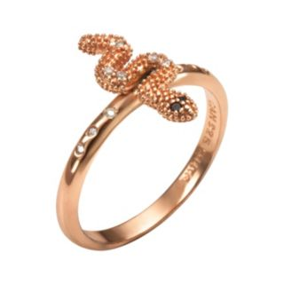 Sophie Miller 14k Rose Gold Over Silver Black and White Cubic Zirconia Snake Ring