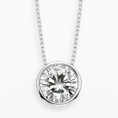 Forever Brilliant 14k White Gold 1 9/10 ctT.W. Round-Cut Lab-Created Moissanite Pendant