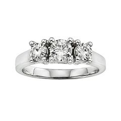 Forever Brilliant Round-Cut Lab-Created Moissanite 3-Stone Engagement Ring in 14k White Gold (1 ctT.W.)