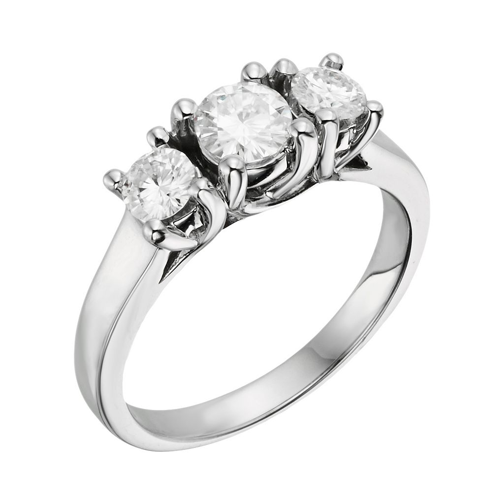 Forever Brilliant Round-Cut Lab-Created Moissanite 3-Stone Engagement Ring in 14k White Gold (1 ct. T.W.)