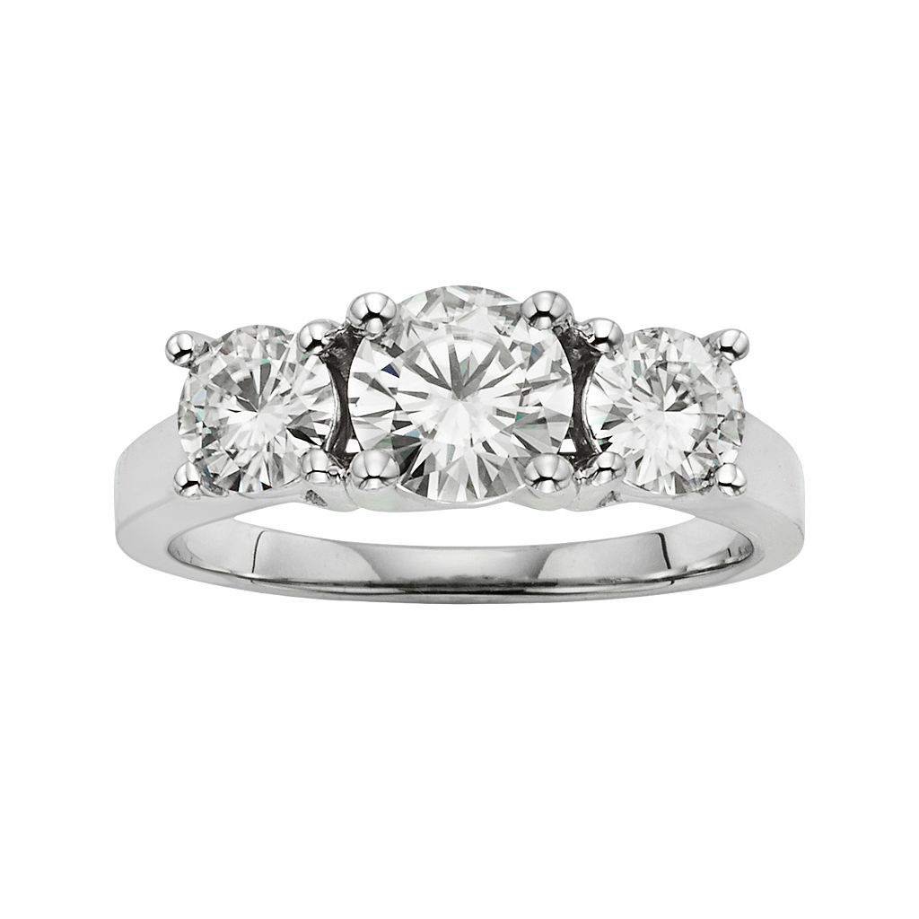 Forever Brilliant 14k White Gold 2-ct. T.W. Lab-Created Moissanite 3-Stone Ring