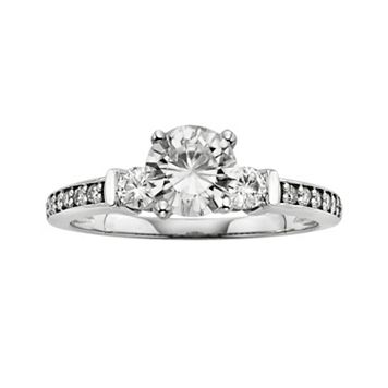 Forever Brilliant Round-Cut Lab-Created Moissanite 3-Stone Engagement Ring in 14k White Gold (1 1/3 ct. T.W.)
