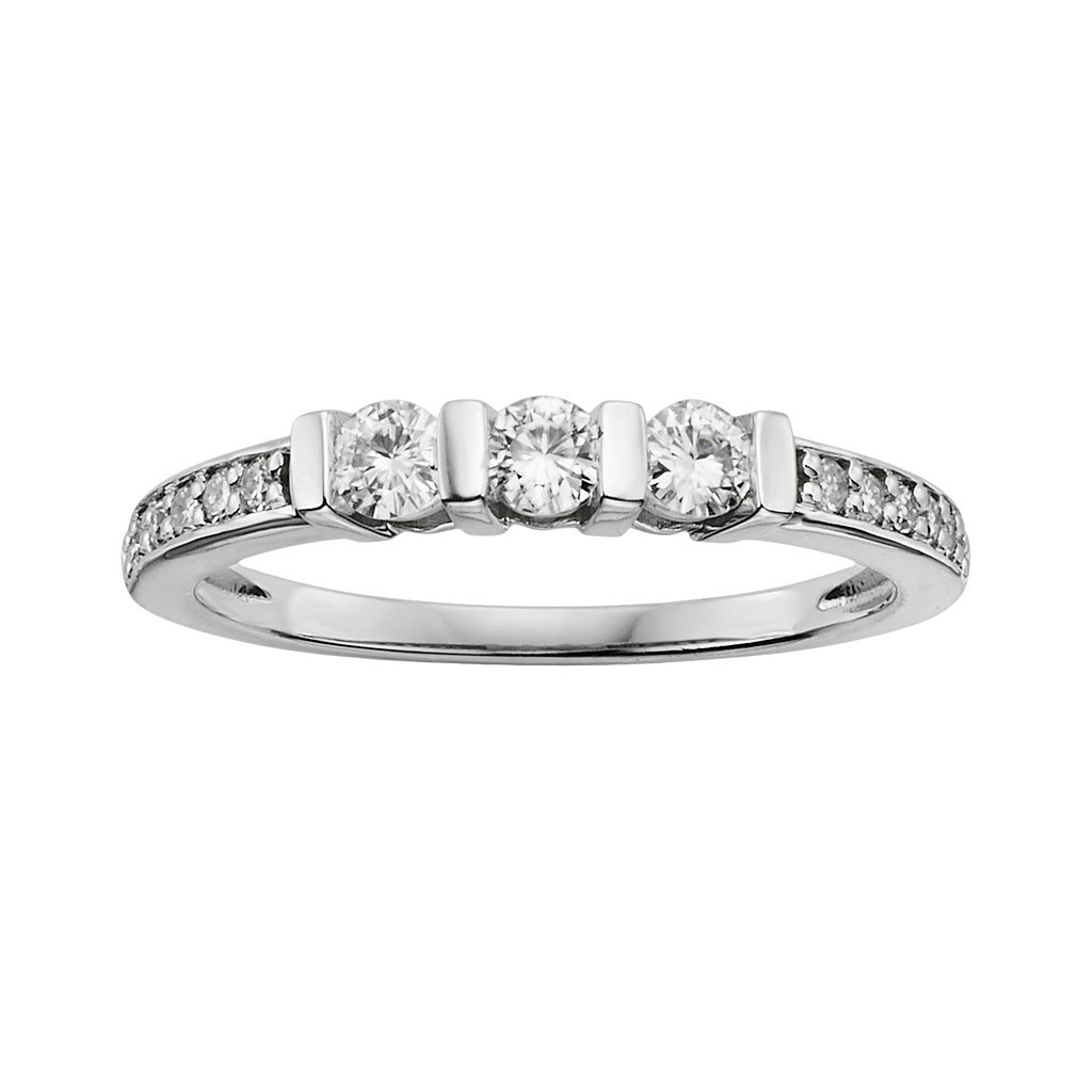 Forever Brilliant Round-Cut Lab-Created Moissanite 3-Stone Engagement Ring in 14k White Gold (3/7 ct. T.W.)