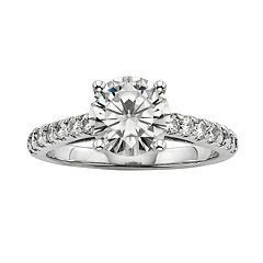 Forever Brilliant Round-Cut Lab-Created Moissanite Engagement Ring in 14k White Gold (2 1/3 ctT.W.)