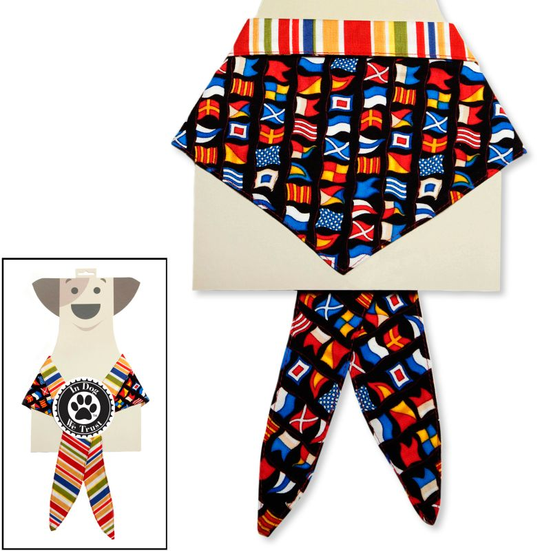 In Dog We Trust Nautical Flags Pet Bandana, Size: L