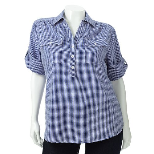 66b20b2792f7b Plus Size Cathy Daniels Gingham Roll-Tab Shirt