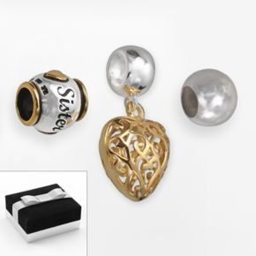 Individuality Beads 24k Gold Over Silver and Sterling Silver Sister Bead and Heart Charm Set