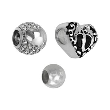 Individuality Beads Sterling Silver Cubic Zirconia, Footprint Heart & Spacer Bead Set