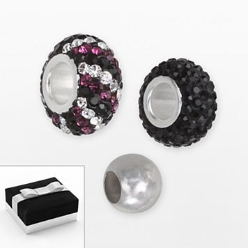 Individuality Beads Sterling Silver Crystal, Striped & Spacer Bead Set