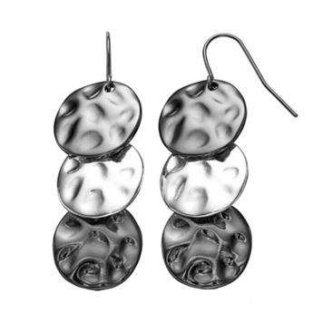 Dana Buchman Two Tone Hammered Disc Linear Drop Earrings