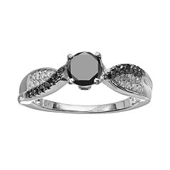 Black & White Diamond Twist Engagement Ring in 10k White Gold (3/4 ct. T.W.)