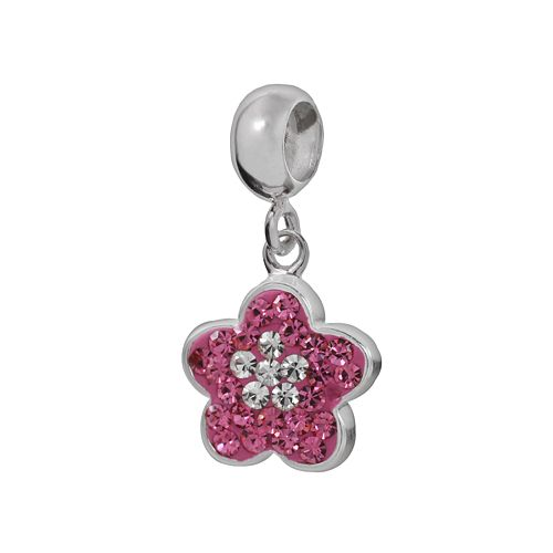 Individuality Beads Sterling Silver Crystal Flower Charm