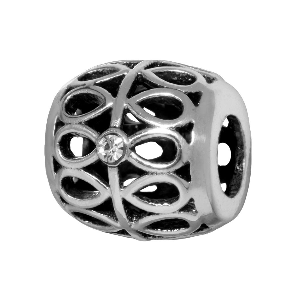 Individuality Beads Sterling Silver Crystal Teardrop Openwork Bead