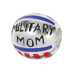 Individuality Beads Sterling Silver 'Military Mom' Stars & Stripes Bead