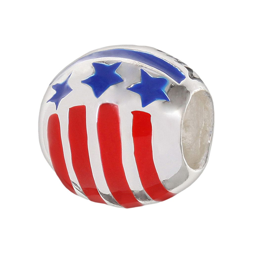 Individuality Beads Sterling Silver Military Mom Stars and Stripes Bead