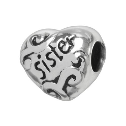 Individuality Beads Sterling Silver Sister Heart Bead