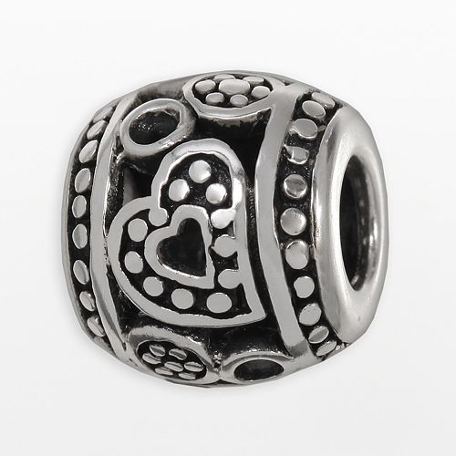 Individuality Beads Sterling Silver Studded Heart Openwork Bead