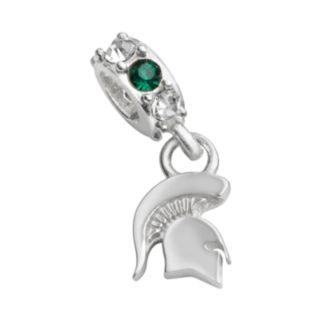 Dayna U Michigan State Spartans Sterling Silver Crystal Logo Charm