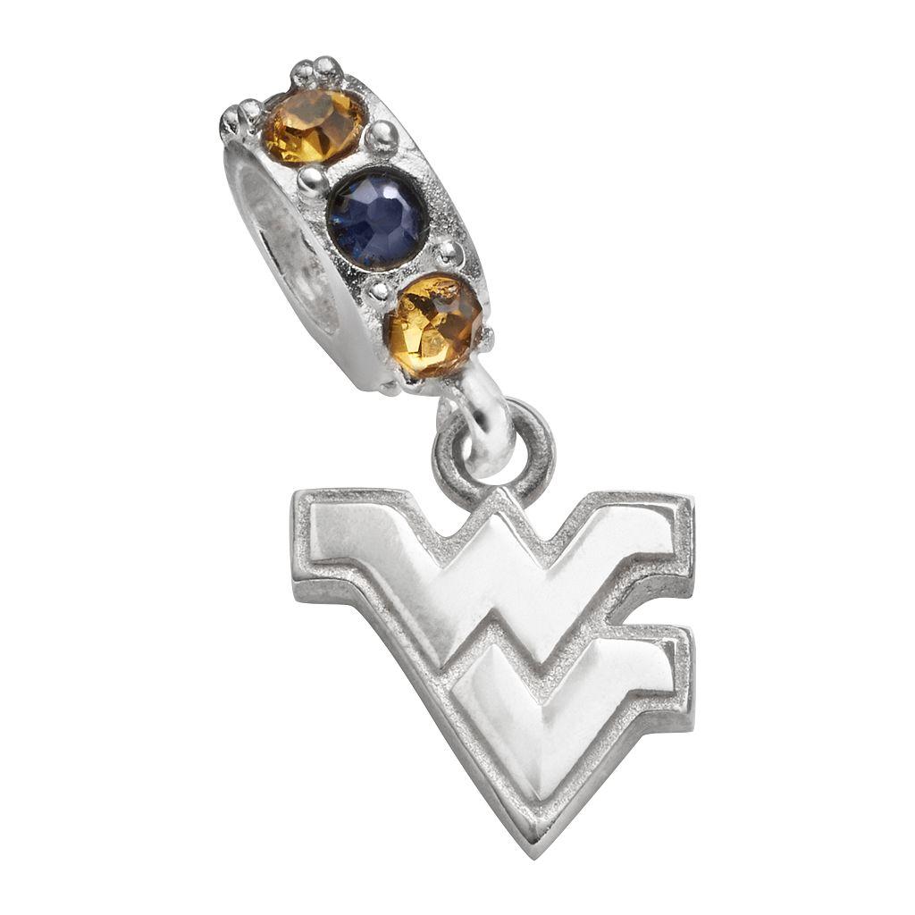Dayna U West Virginia Mountaineers Sterling Silver Crystal Logo Charm