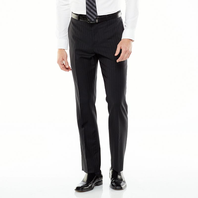 Marc Anthony Slim-Fit Pinstripe Wool-Blend Flat-Front Suit Pants - Men