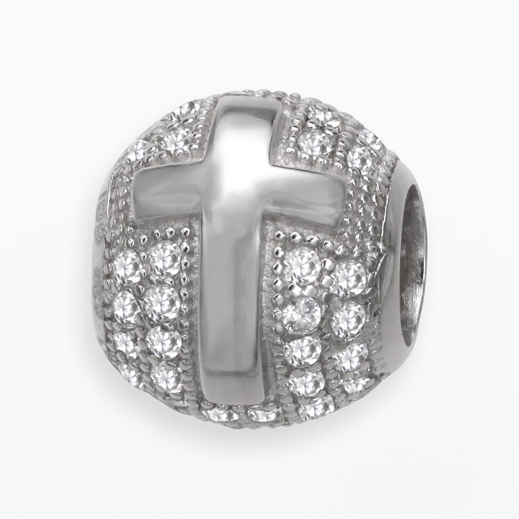 Individuality Beads Sterling Silver Cubic Zirconia Cross Bead