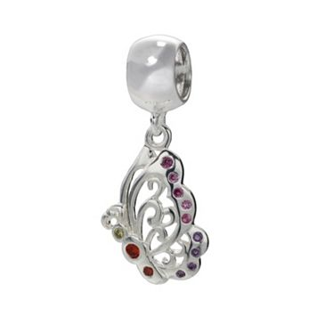 Individuality Beads Sterling Silver Crystal Openwork Butterfly Charm