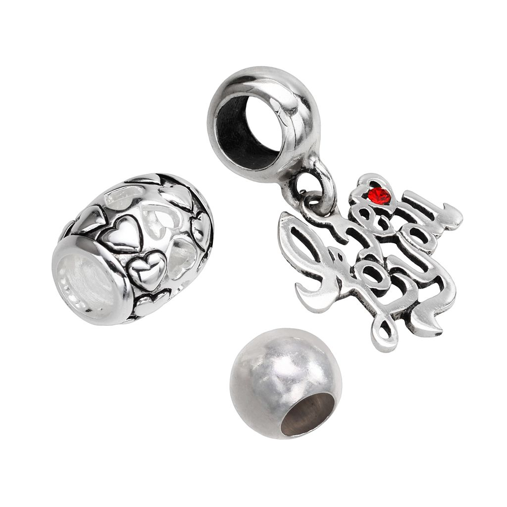 Individuality Beads Sterling Silver Heart & Spacer Bead and Crystal