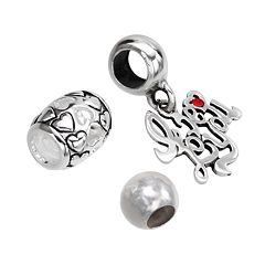 Individuality Beads Sterling Silver Heart & Spacer Bead and Crystal 'I Love You' Charm Set