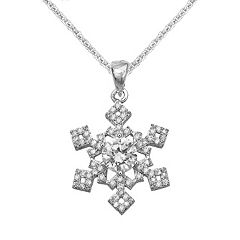 The Silver Lining Silver-Plated Cubic Zirconia Snowflake Pendant