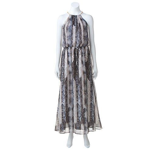 Apt. 9® Snakeskin Chiffon Halter Maxi Dress