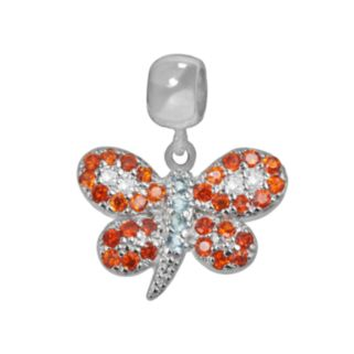 Individuality Beads Sterling Silver Crystal and Cubic Zirconia Butterfly Charm