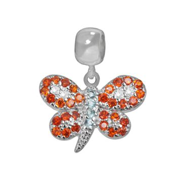 Individuality Beads Sterling Silver Crystal & Cubic Zirconia Butterfly Charm