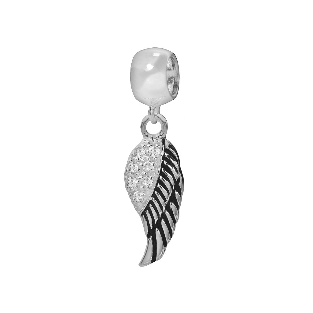 Individuality Beads Sterling Silver Cubic Zirconia Angel Wing Charm