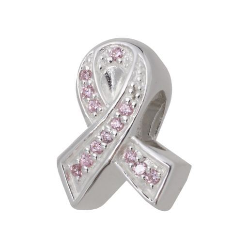 Individuality Beads Sterling Silver Cubic Zirconia Breast Cancer Awareness Ribbon Bead