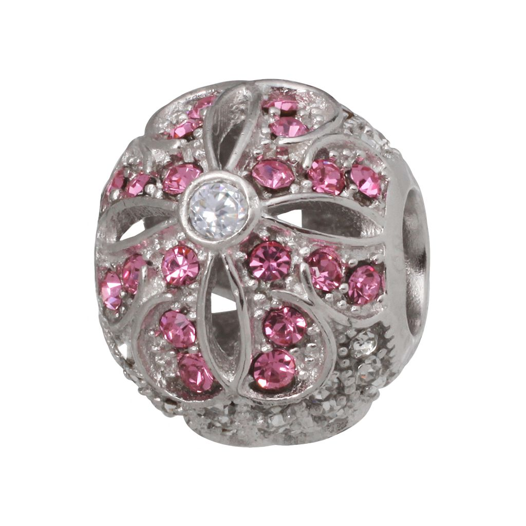 Individuality Beads Sterling Silver Crystal & Cubic Zirconia Flower Bead