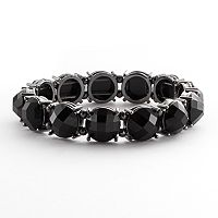 1928 Jet Simulated Crystal Stretch Bracelet