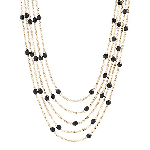 1928 Gold Tone Bead Multistrand Station Necklace