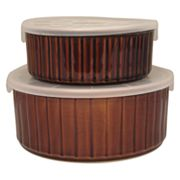 Sango Nova Brown Covered Round Baker Set