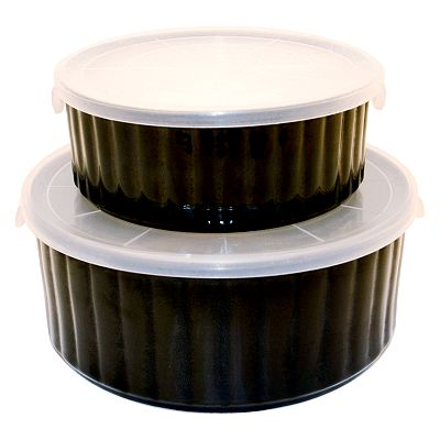 Sango Nova Black Covered Round Baker Set