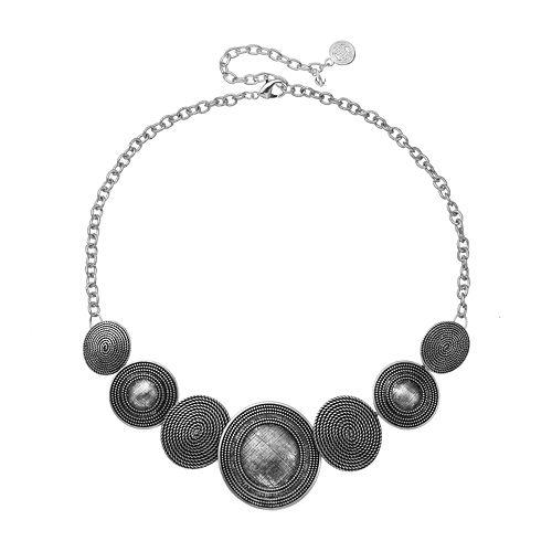 Dana Buchman Textured Disc Bib Necklace