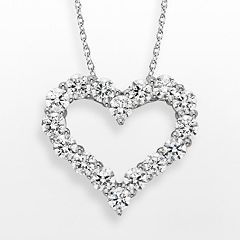 Diamonore Sterling Silver 2-ct. T.W. Simulated Diamond Heart Pendant