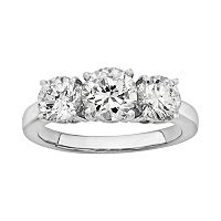 Diamonore Simulated Diamond 3-Stone Engagement Ring in Sterling Silver (2 ctT.W.)