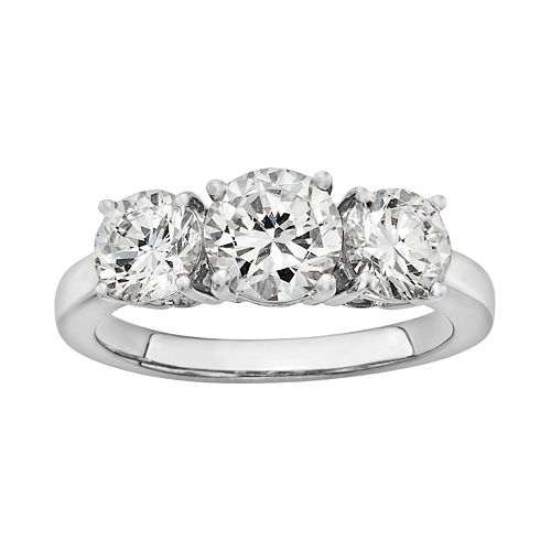 Diamonore Simulated Diamond 3-Stone Engagement Ring in Sterling Silver (2 ct. T.W.)