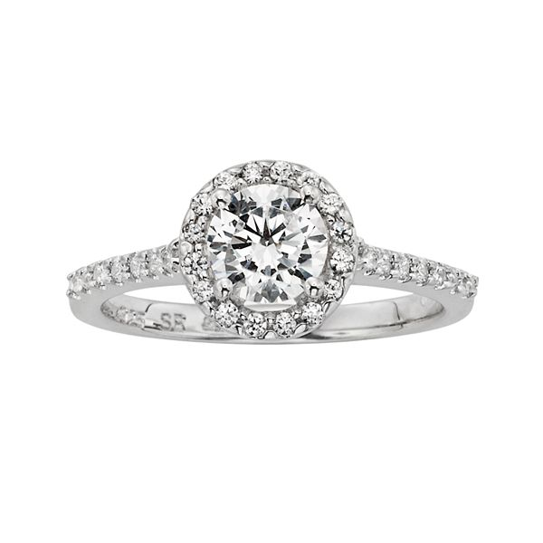 Diamonore Simulated Diamond Halo Engagement Ring In Sterling Silver 1 Ct T W