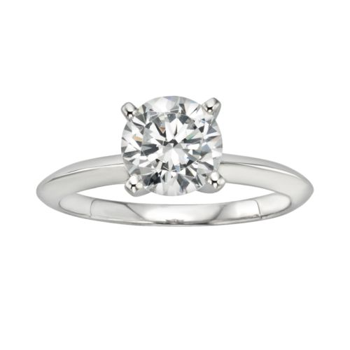 Diamonore Simulated Diamond Solitaire Engagement Ring in Sterling Silver (1 1/2 ct. T.W.)