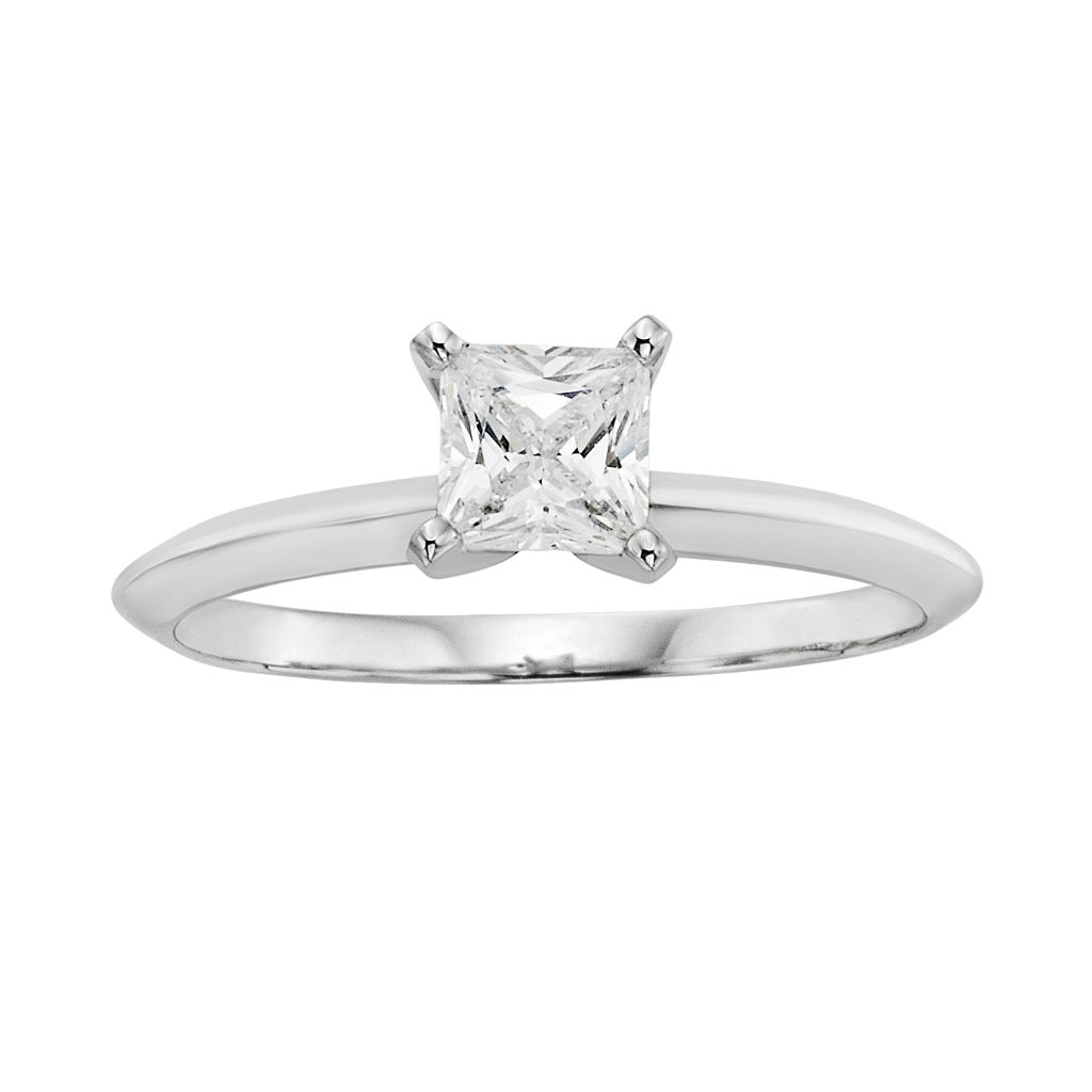 Diamonore Princess-Cut Simulated Diamond Solitaire Engagement Ring in Sterling Silver (1/2 ct. T.W.)